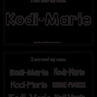 Kodi-Marie – Name Printables for Handwriting Practice