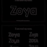 Zoya – Name Printables for Handwriting Practice
