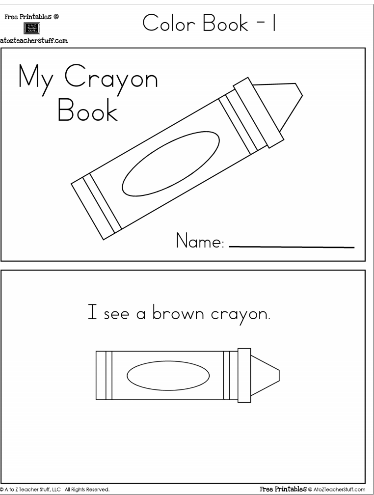 Crayon colors printable book with 6 pages free