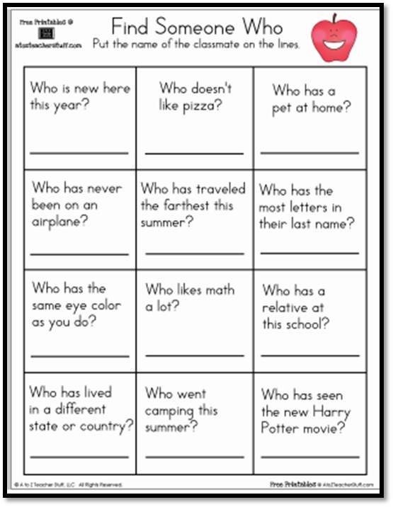 Find Someone Who Worksheet | A to Z Teacher Stuff Printable Pages ...