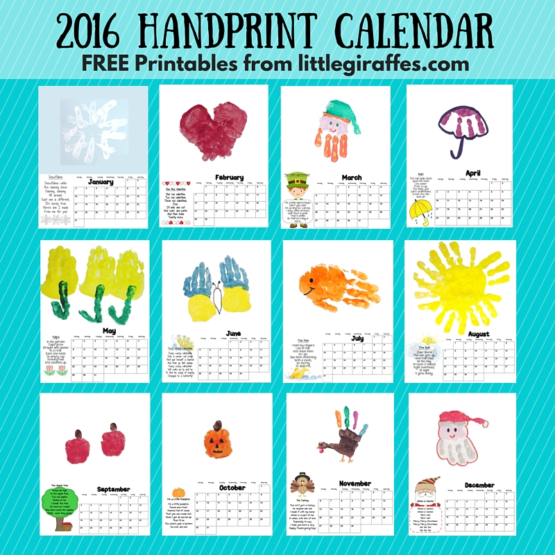 Calendar Monthly Ideas : Little giraffes keepsake handprint calendar a to z