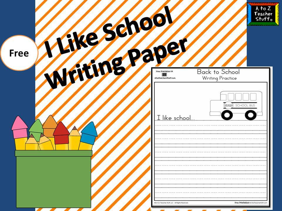 I Like School Writing Practice Page – School Writing Paper Template