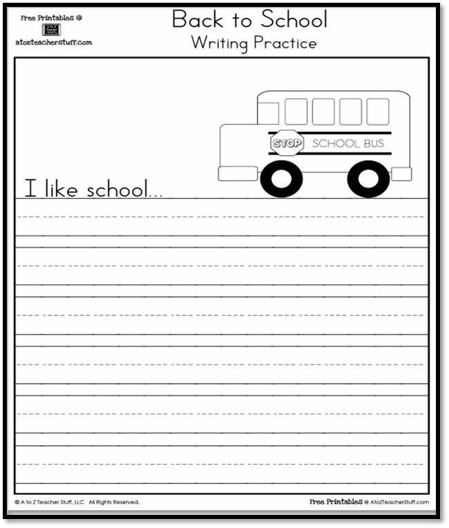I Like School Writing Practice Page