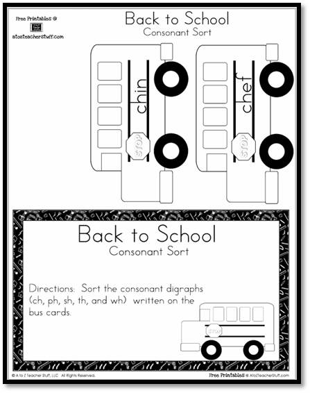 Back to School Consonant Digraphs Sort