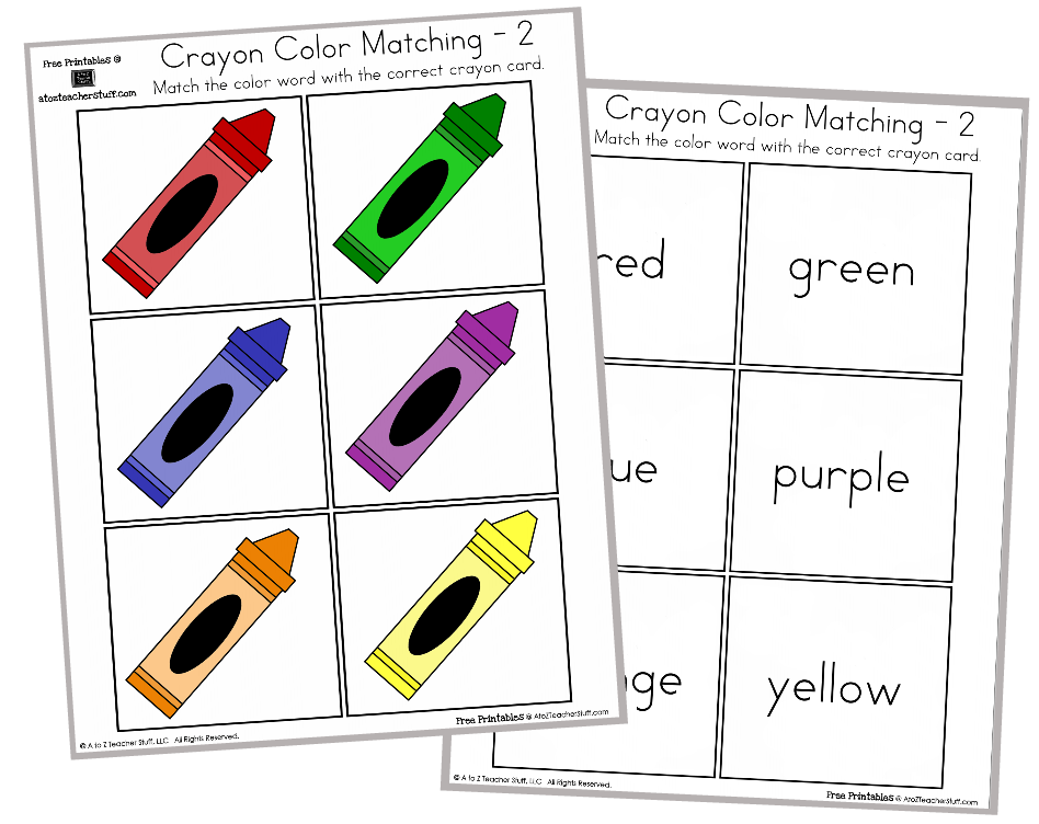Crayon Color Matching Free Printables English & Spanish