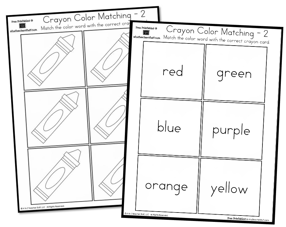 Crayon Colors Matching Game A To Z Teacher Stuff Printable