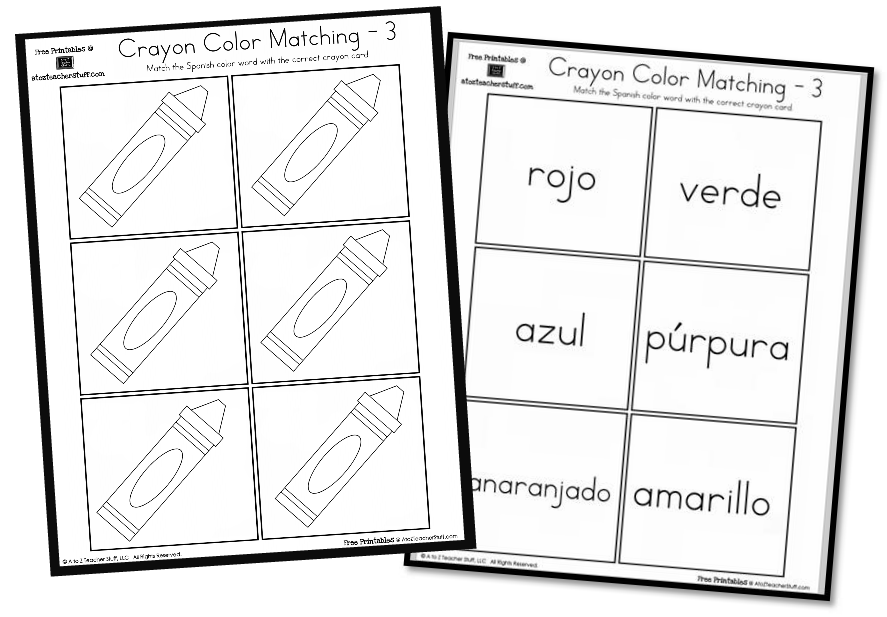 Crayon Color Matching free printables English and Spanish