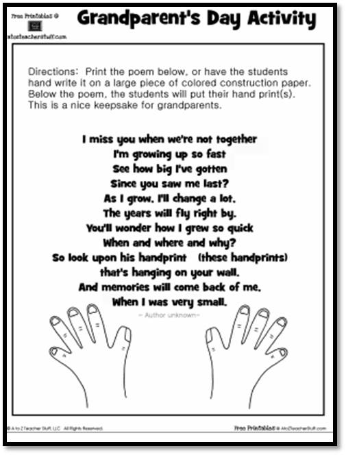 Worksheets For Poems : Grandparent s day activity keepsake handprint poem a to