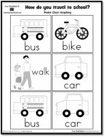 How do you travel to school? Pocket Chart Graphing Printable