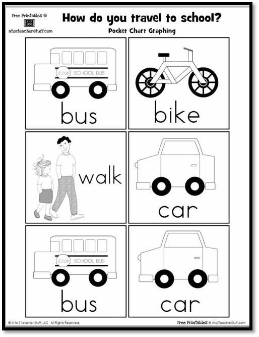 How do you travel to school? Pocket Chart Graphing Printable | A to ...