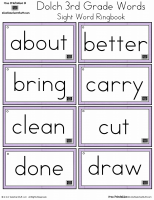 Third Grade Dolch Sight Words Ring Book