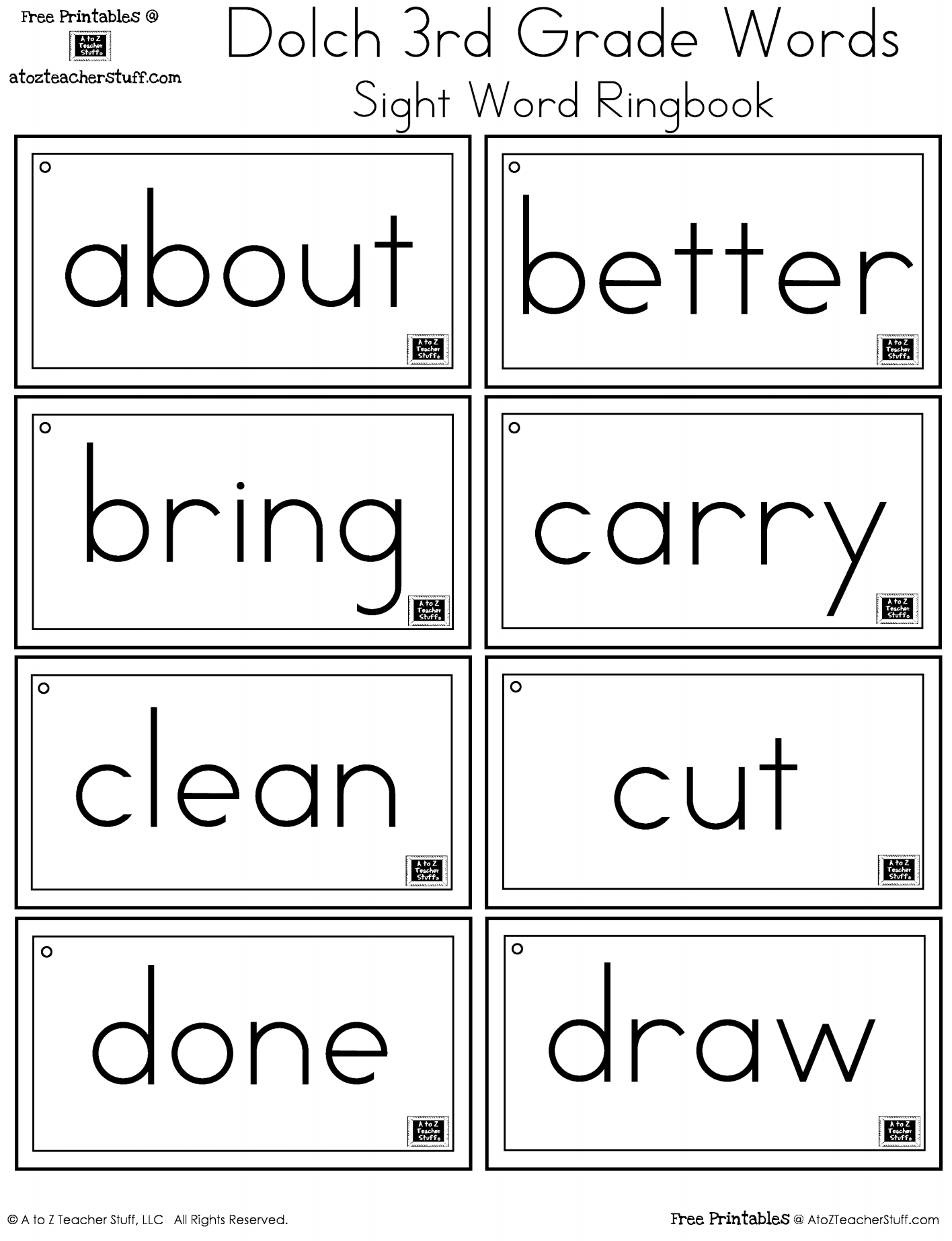 Worksheets Sight Word Worksheets For First Grade third grade dolch sight words ring book a to z teacher stuff 3rd word ringbook