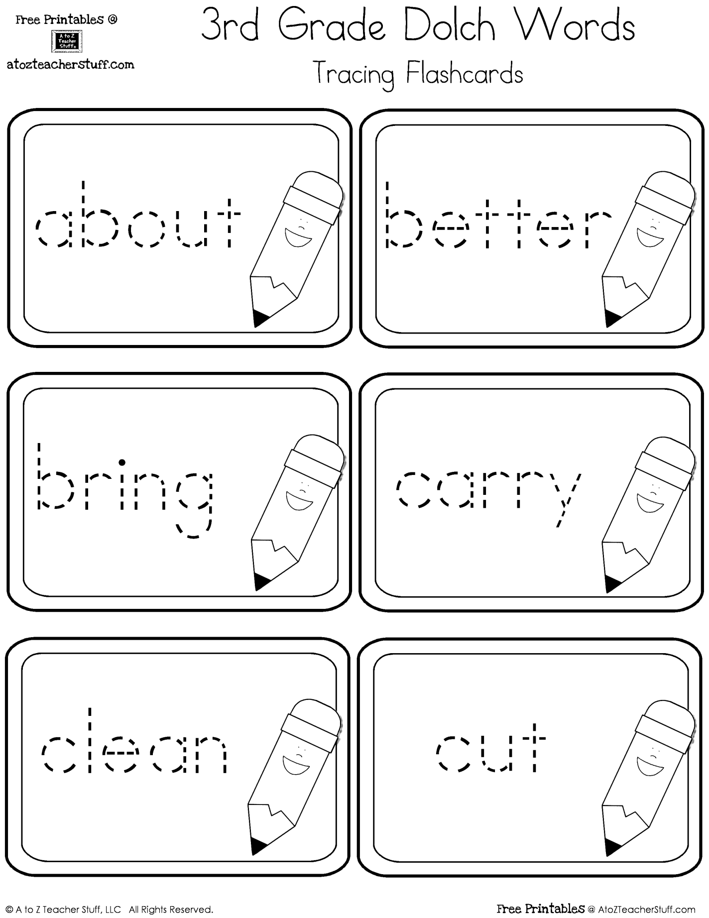 Third Grade Dolch Sight Words Tracing Flashcards | A to Z Teacher ...