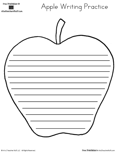 Apple Writing Practice Page with Lines {free printable}