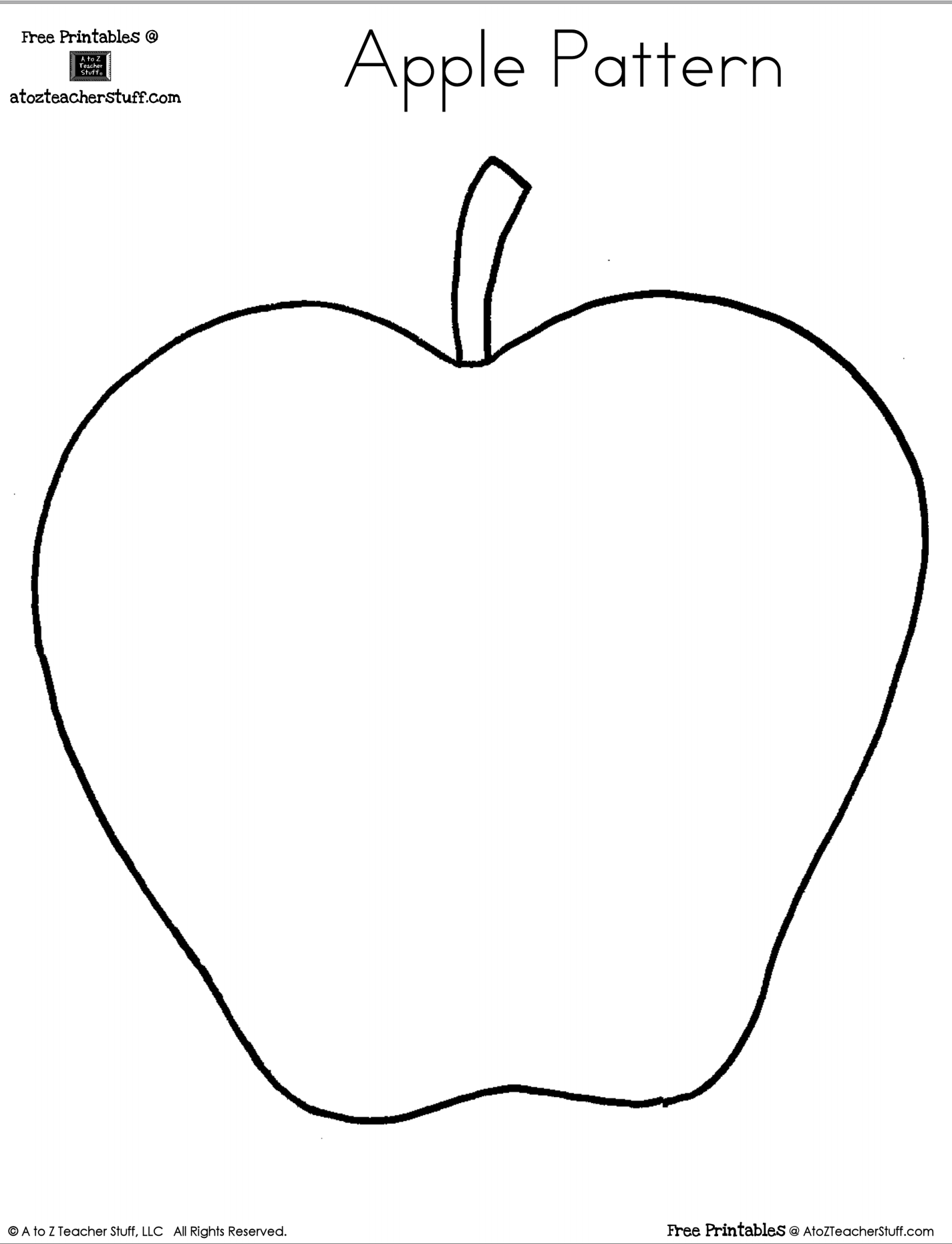 Apple Themed Coloring Pages : Printable apple pattern a to z teacher stuff
