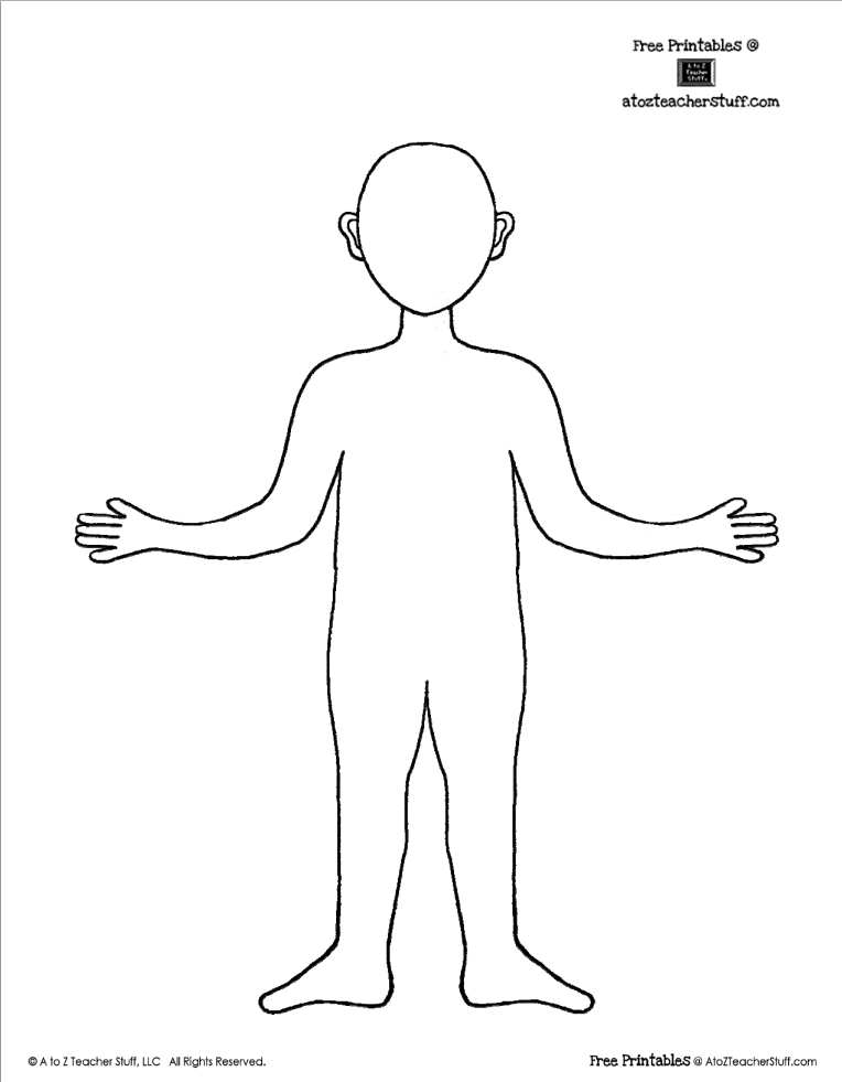 Body Template Outline (Boy or Girl) | A to Z Teacher Stuff Printable ...
