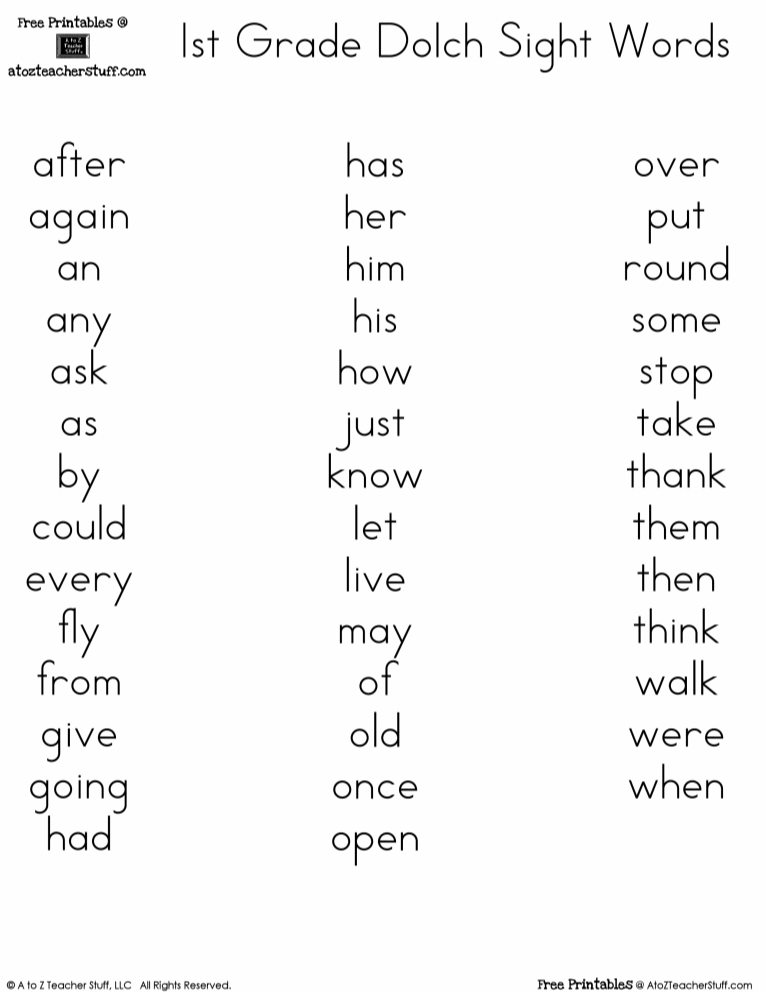 Free printables Dolch 1st Grade Sight Words