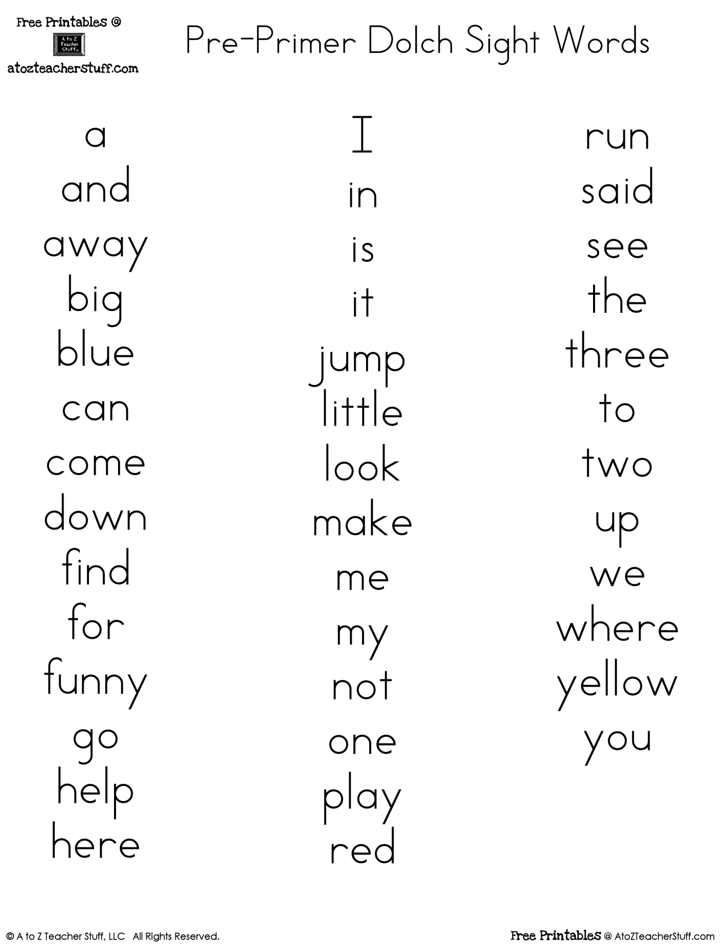 Pre-Primer Dolch Sight Words FREE Printables