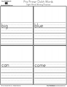 My Word Book: Pre-Primer Dolch Sight Words Writing Practice