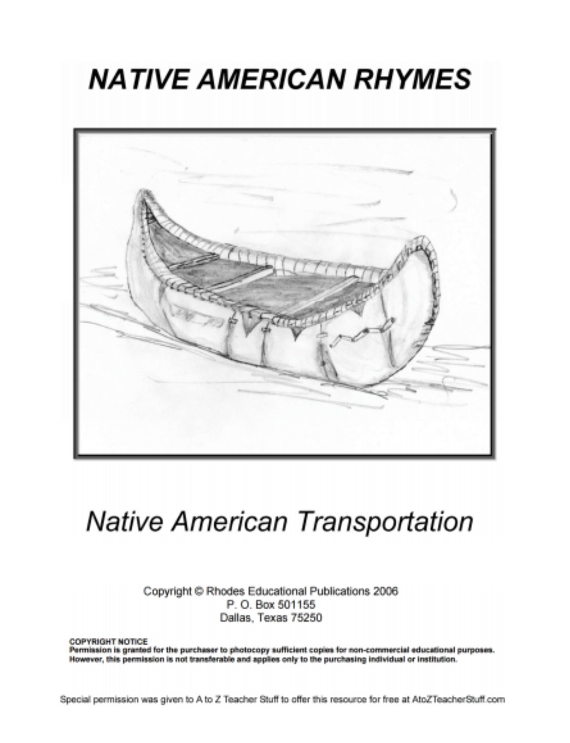 Native American Rhymes Transportation {free printables}