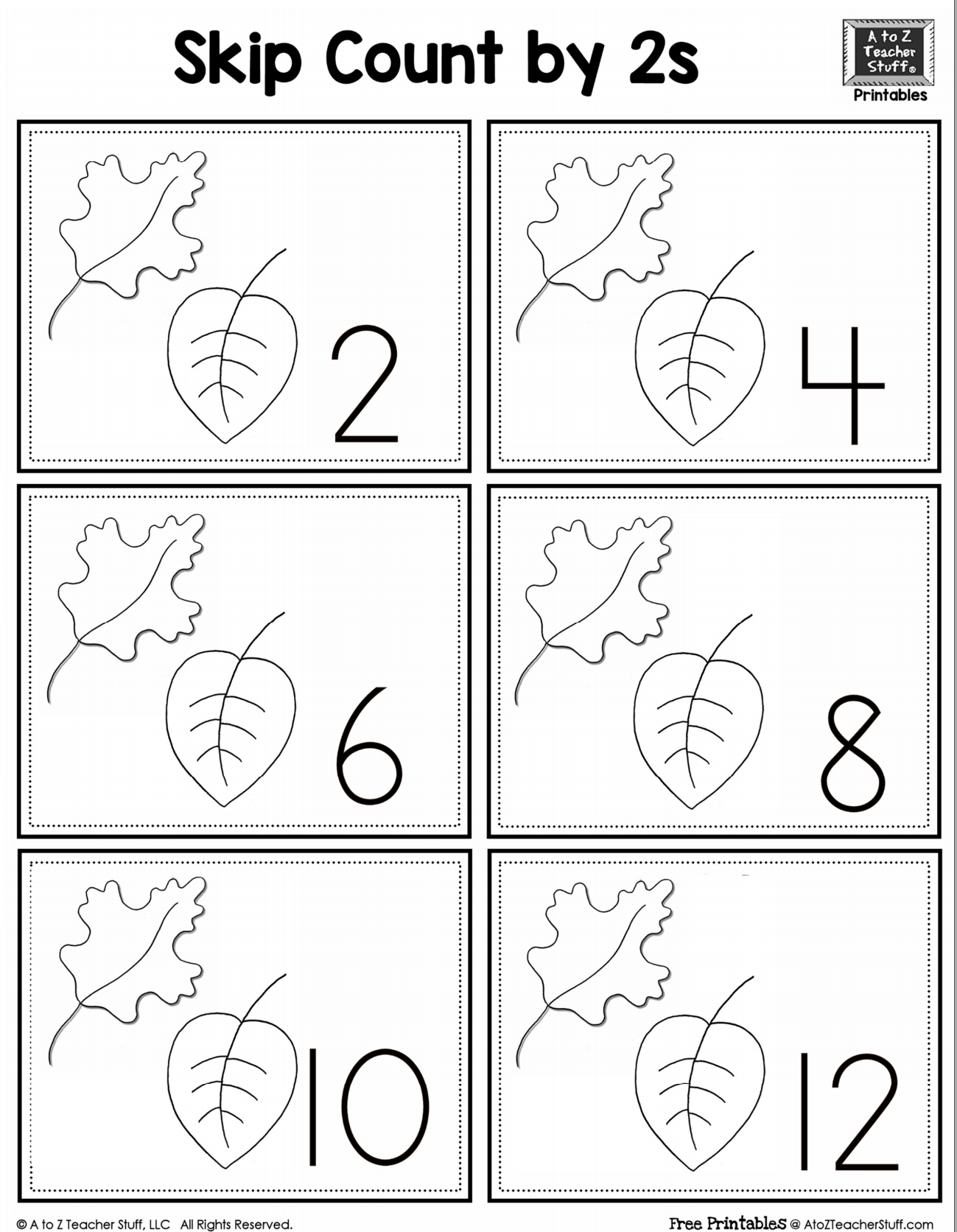 worksheet Skip Count leaf skip counting by 2 a to z teacher stuff printable pages and 2