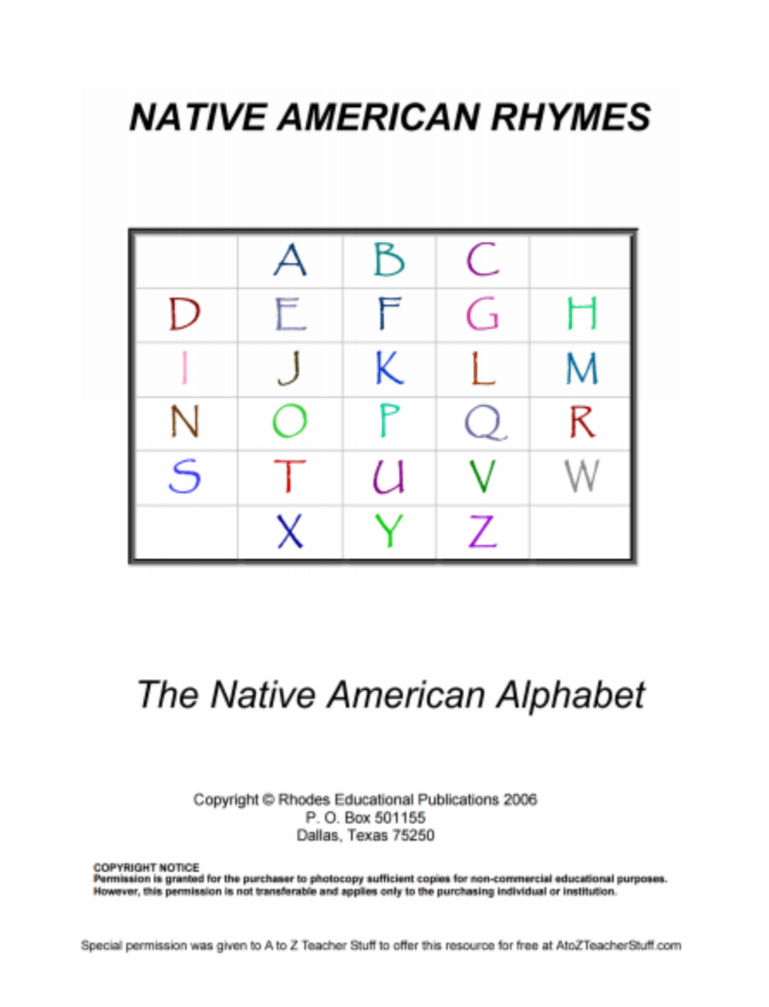 Native American Rhymes Printable Resources – Native American Worksheets