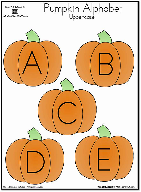 graphic relating to Printable Pumpkin Pictures called Pumpkin Lowercase and Uppercase Alphabet A in the direction of Z Trainer