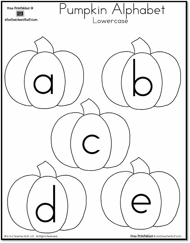Pumpkin Lowercase Alphabet {free printables}