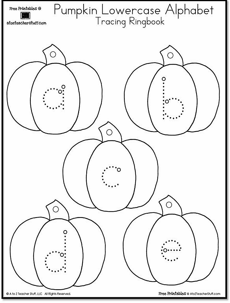 Pumpkin Lowercase and Uppercase Tracing Alphabet – Abc Trace Worksheet