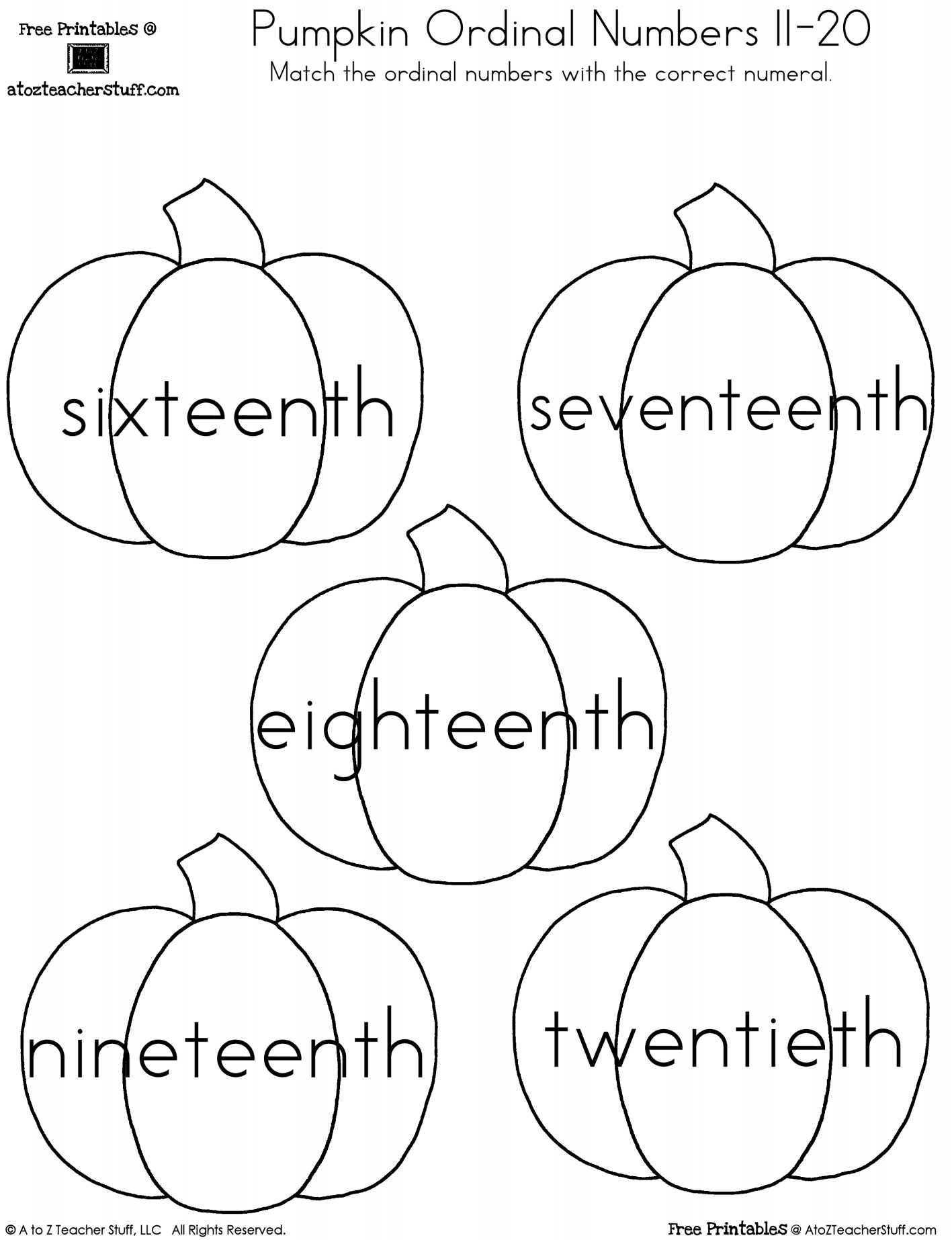 worksheet Worksheet Numbers 1 20 pumpkin ordinal numbers 1 20 a to z teacher stuff printable pages teens