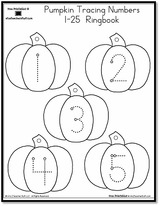 Pumpkin Number Tracing 1-25 | A to Z Teacher Stuff Printable Pages ...