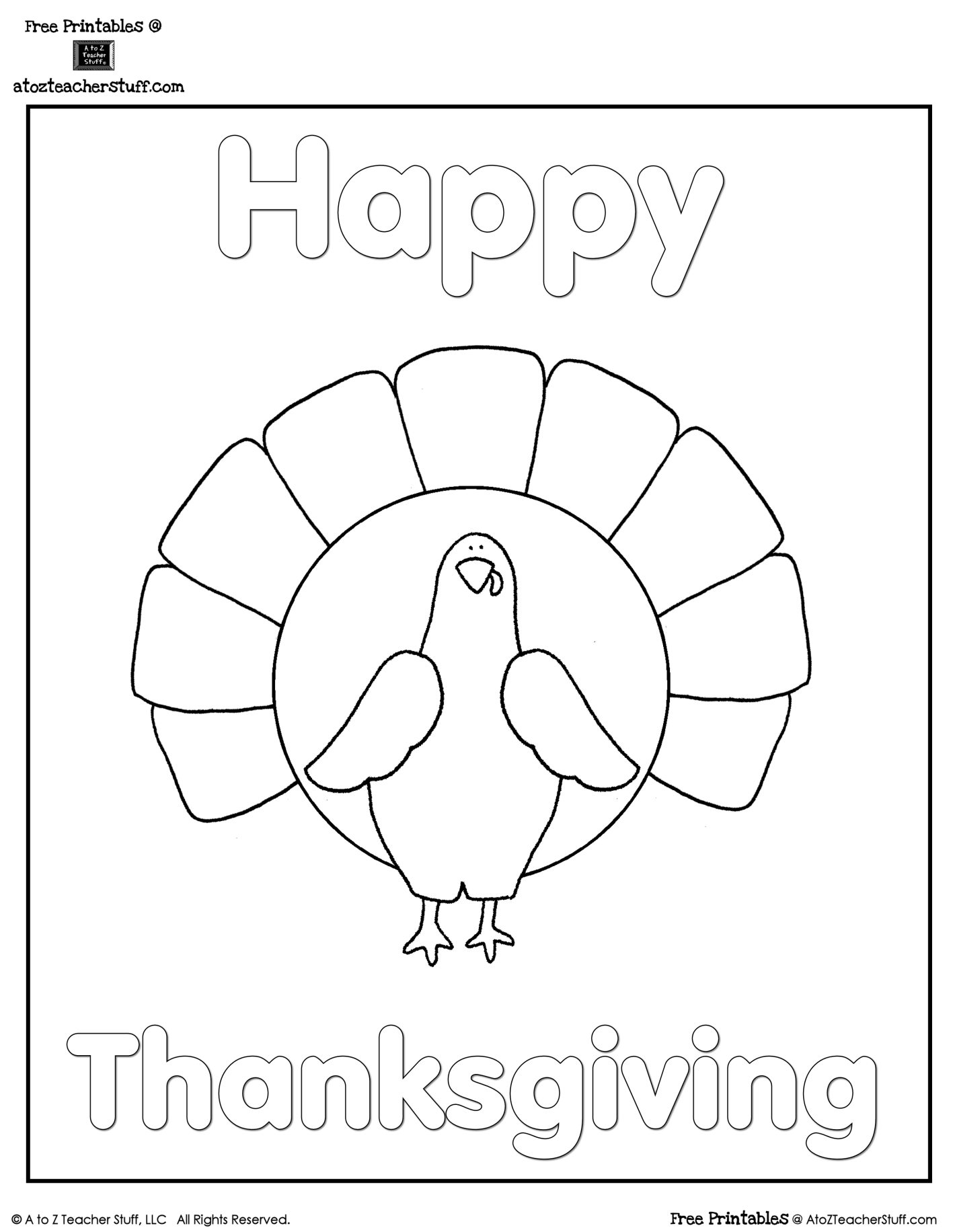 Turkey Coloring Sheet | A to Z Teacher Stuff Printable Pages and ...