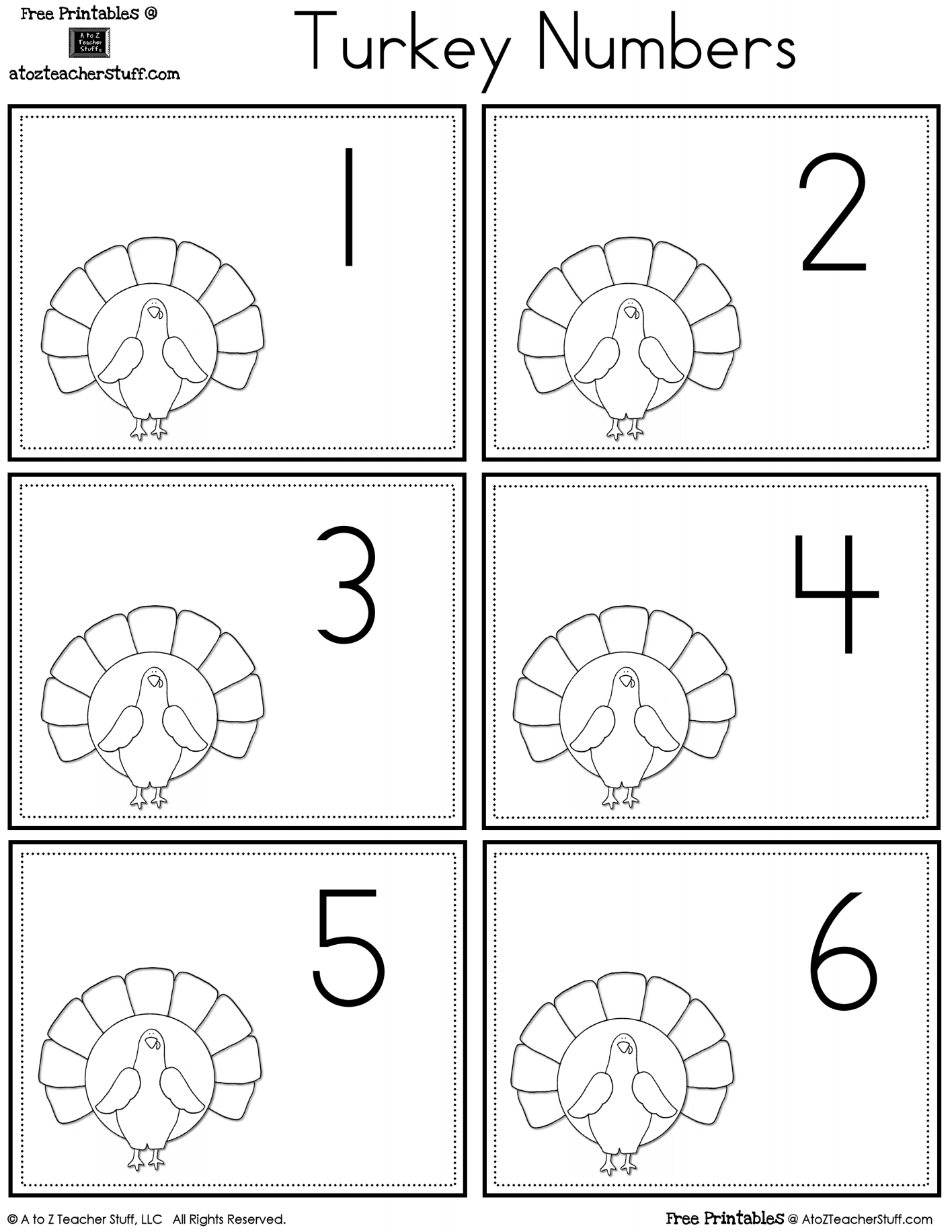 Turkey Number Cards 1 To 30