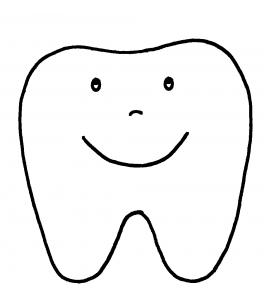 Happy Tooth Pattern or Coloring Page