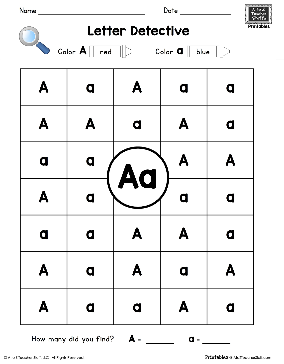 Letter Aa - Letter Detective free printable for uppercase and lowercase visual discrimination