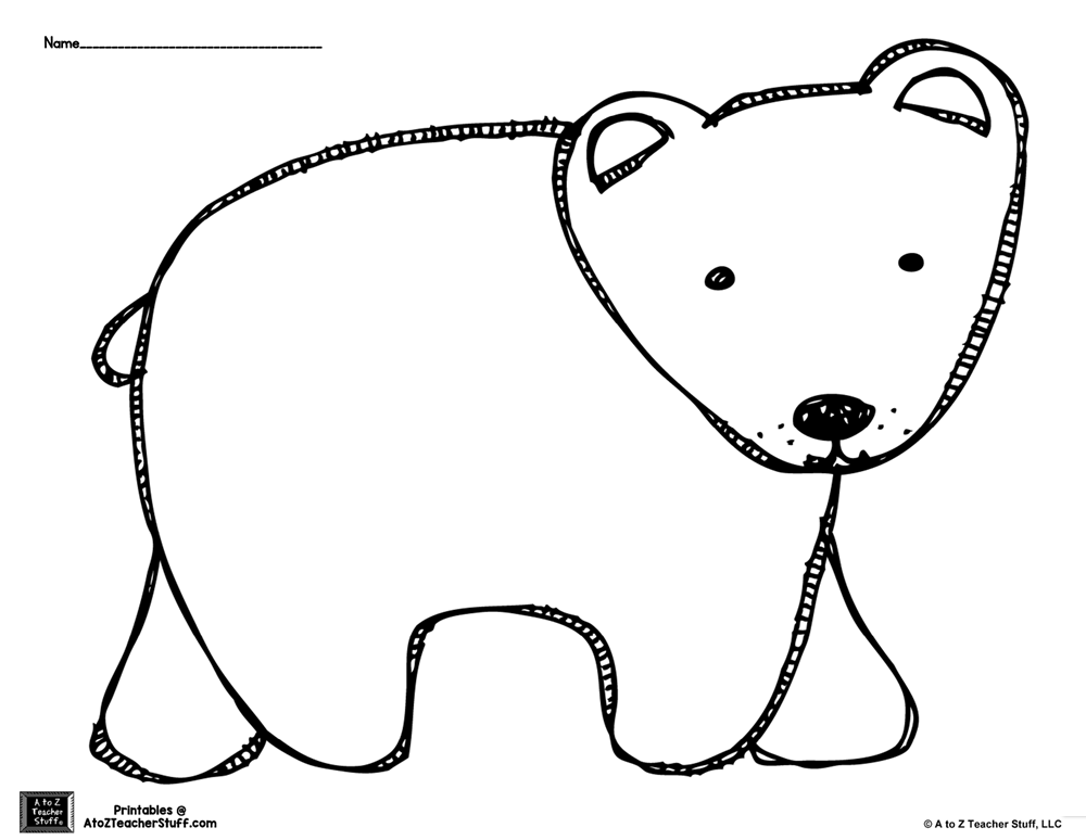 Brown Bear or Polar Bear Outline Coloring Page A to Z
