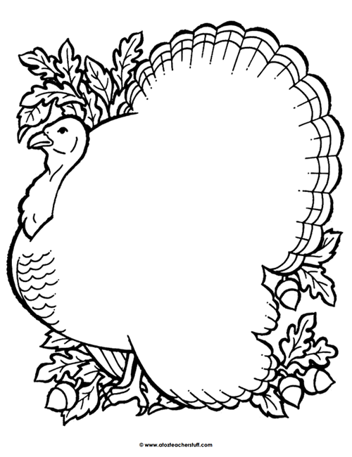Turkey Coloring Page Outline or Shape Book | A to Z Teacher Stuff ...