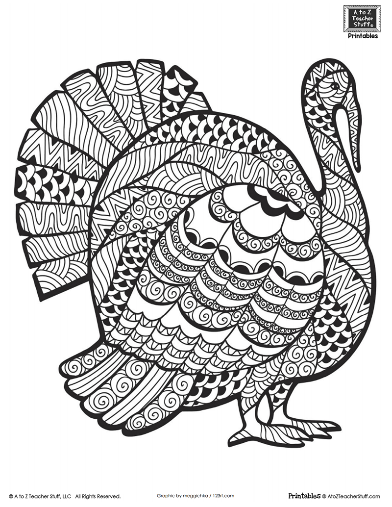 Thanksgiving Turkey Coloring Pages Detailed Turkey Advanced Coloring Page  A To Z Teacher Stuff