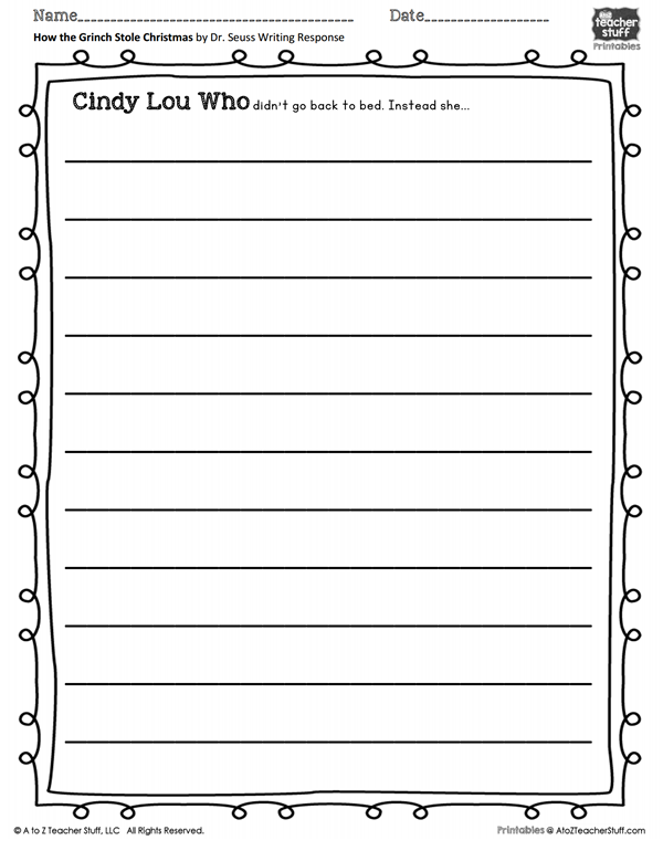 How the Grinch Stole Christmas Writing Prompt Printable  A to Z