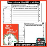 How the Grinch Stole Christmas Persuasive Writing Response Printable