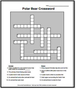 Polar Bear Crossword Puzzle {free printable}