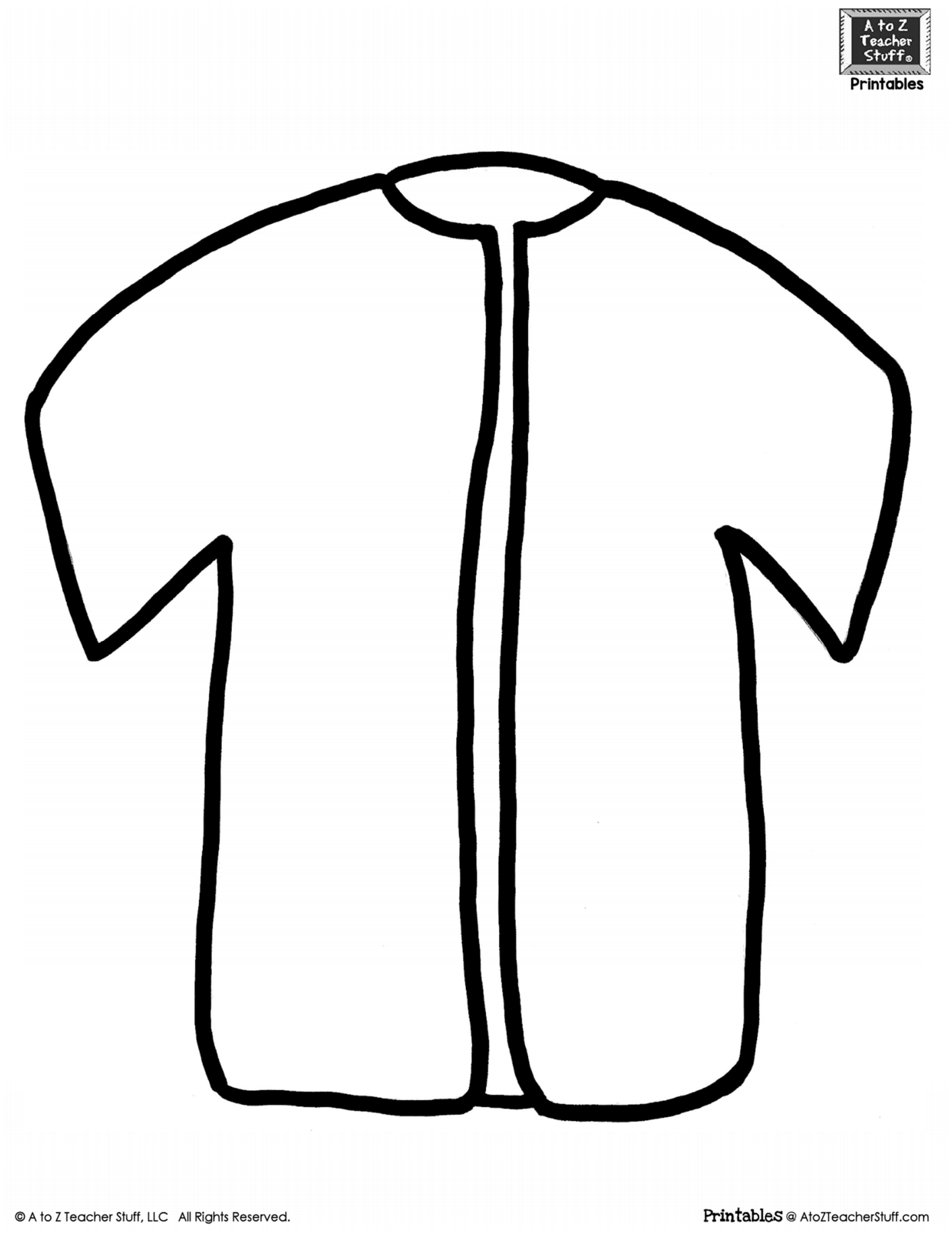Shirt Or Jacket Outline Printable Pattern A To Z Teacher