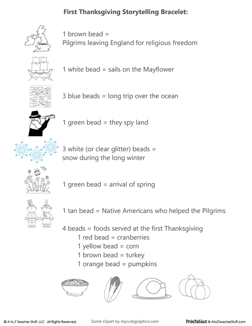 First Thanksgiving Storytelling Bracelet Printable – Thanksgiving Preschool Worksheets