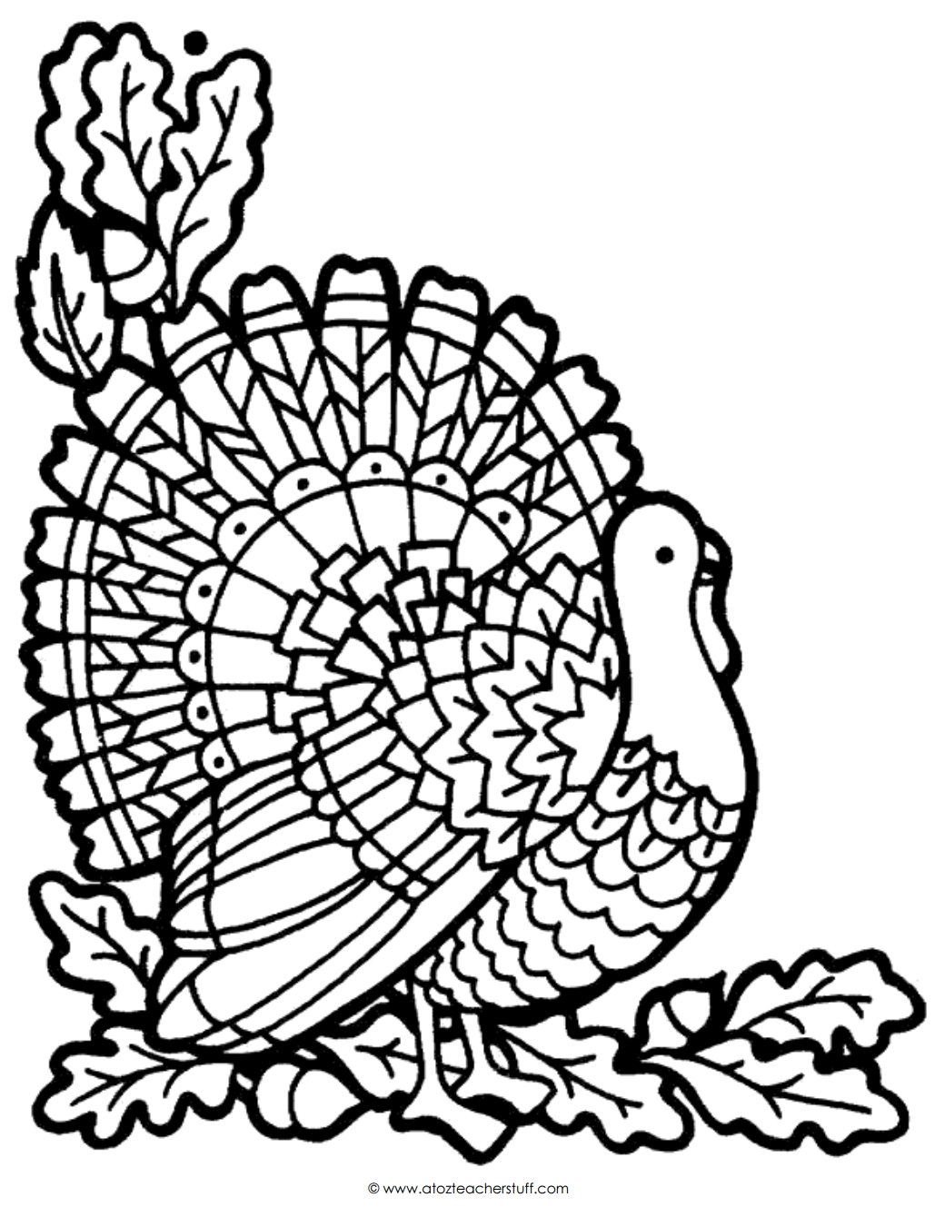 Thanksgiving Turkey Coloring Pages Turkey Coloring Page  A To Z Teacher Stuff Printable Pages And