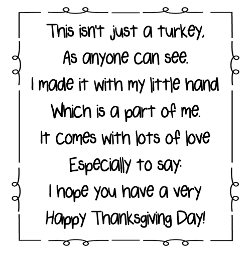 photograph about Printable Handprint titled Turkey Handprint Poem Printables A in the direction of Z Trainer Things