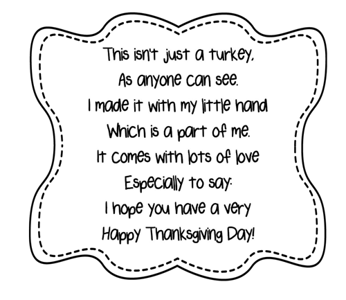 photo about Printable Handprint named Turkey Handprint Poem Printables A in direction of Z Instructor Things