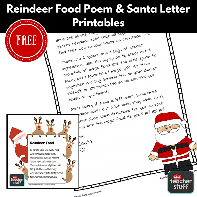 graphic regarding Printables Food named Reindeer Food stuff Recipe, Printable Poem Santa Letter A toward Z