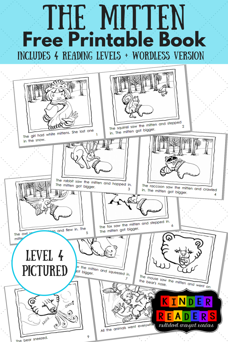photograph about Printable Wordless Picture Books titled The Mitten Multilevel KinderReaders Printable Guide A towards Z