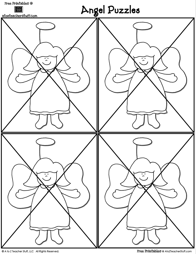 image about Printable Angels identify Printable Angels Puzzles A in the direction of Z Trainer Things Printable