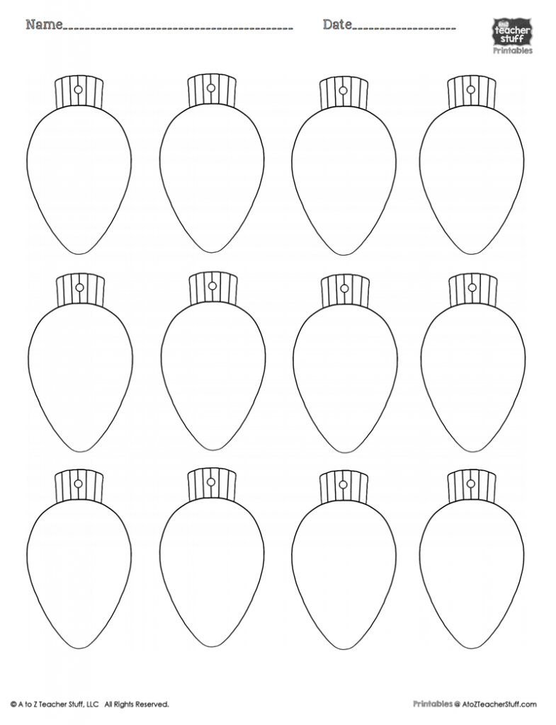 Christmas Lights PrintableColoring Page, Worksheet or Pattern | A to ...